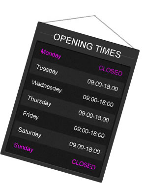 Image of a board to display business hours